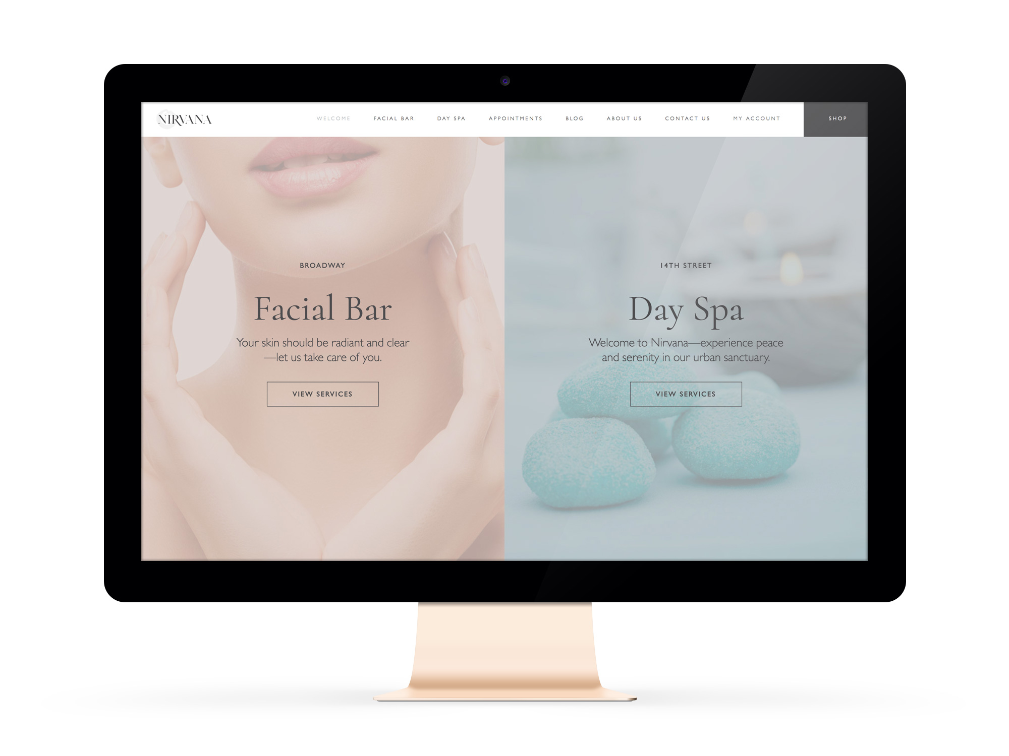 Beautiful Websites for Feminist Entrepreneurs and Salon, Nirvana Face + Body