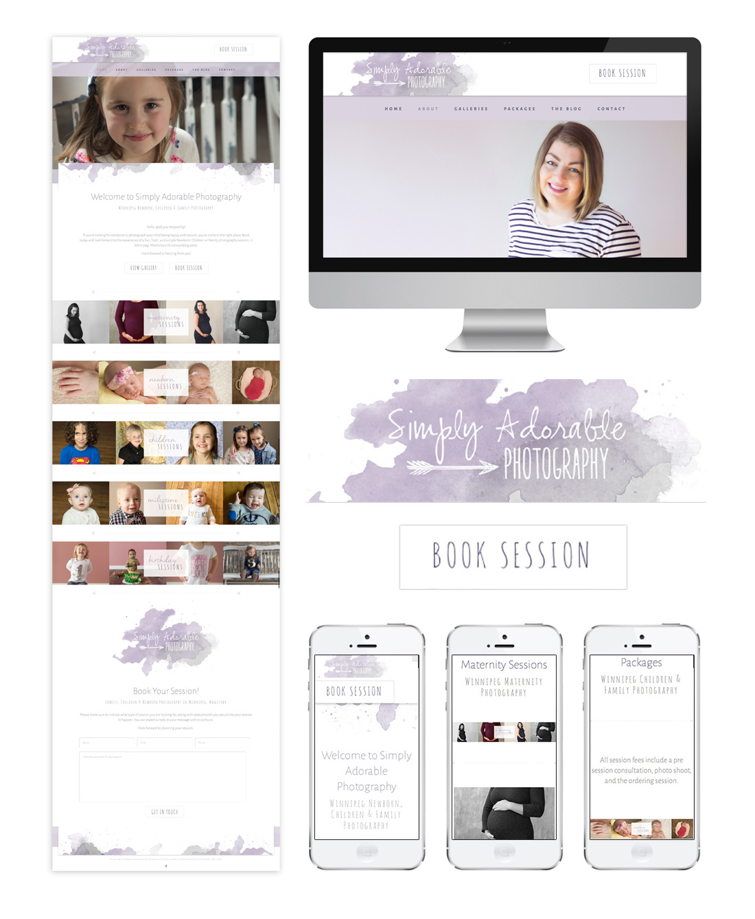Winnipeg Web Design and Branding, Responsive Website Design for Simply Adorable Photography in Winnipeg, Manitoba