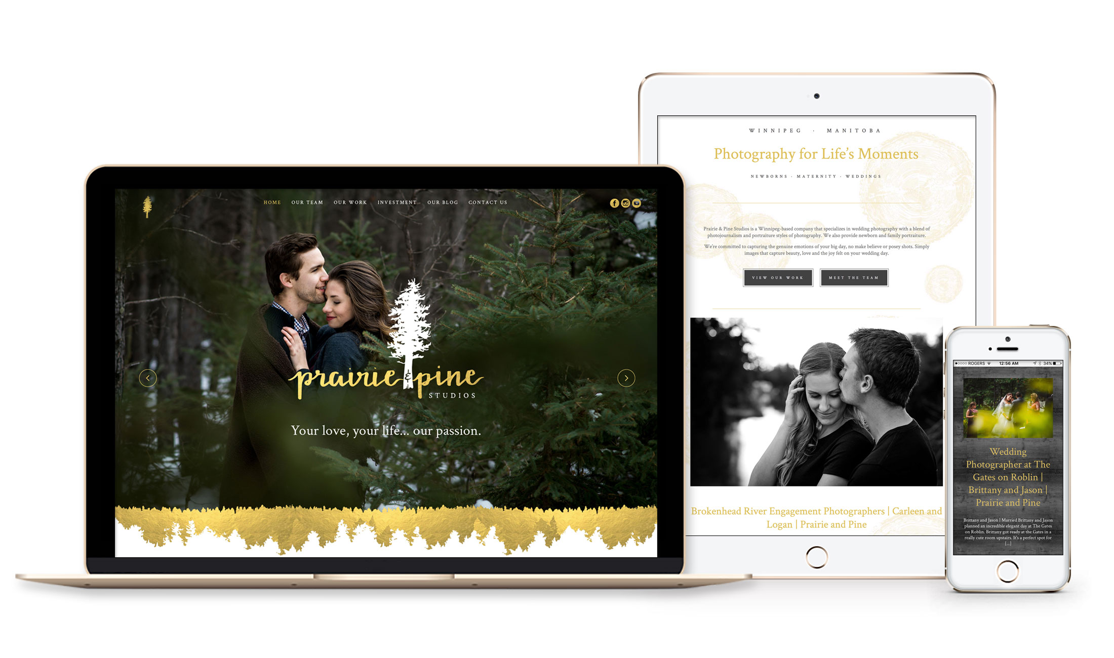 Winnipeg Web Design and Branding, Responsive Website Design for Prairie + Pine Photography in Winnipeg, Manitoba
