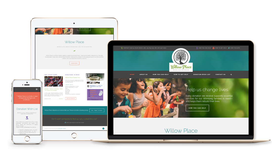 Winnipeg Web Design and Branding, Responsive Website Design for Willow Place Shelter in Winnipeg, Manitoba