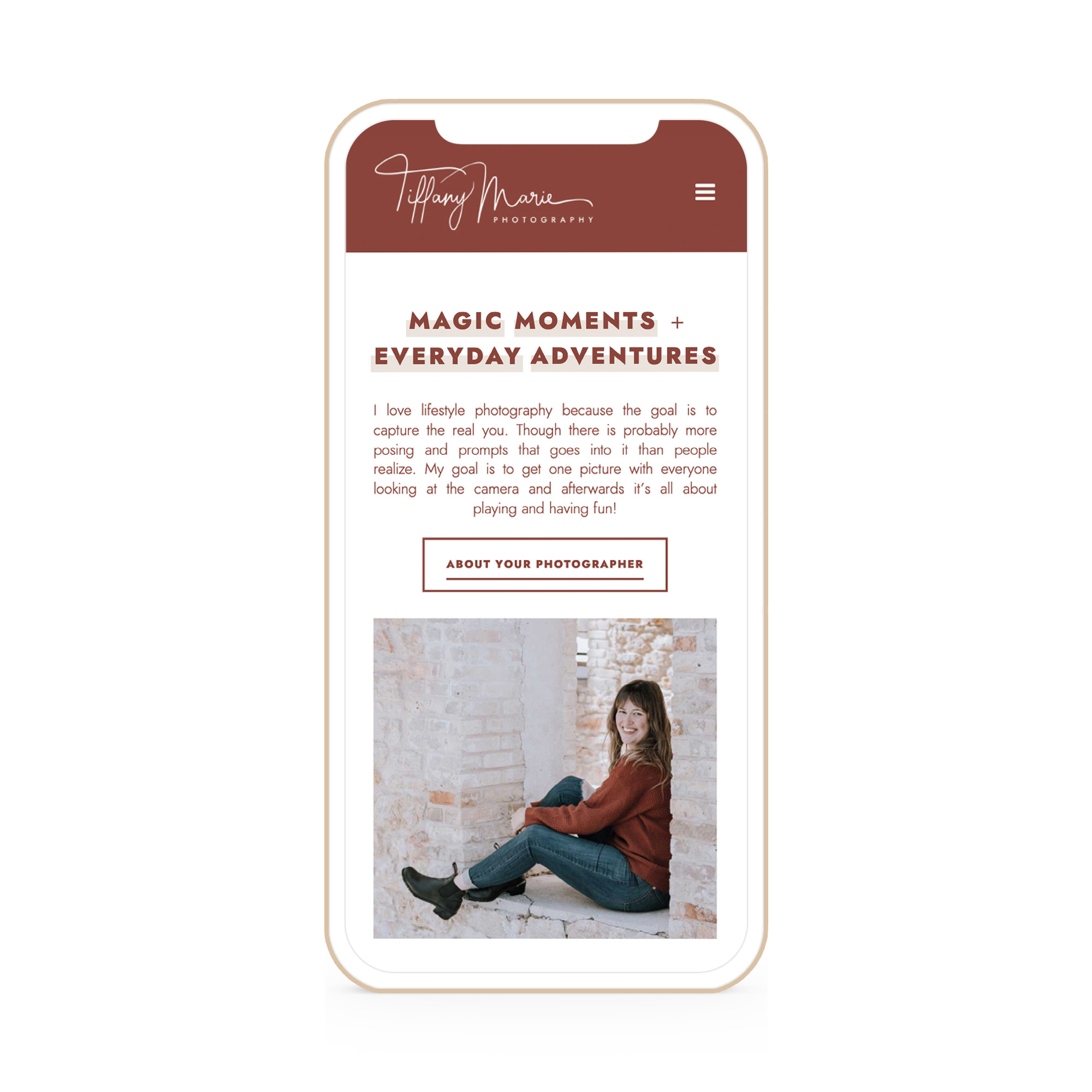Tiffany Marie Photography Winnipeg Website Design Branding iPhone Flat 1