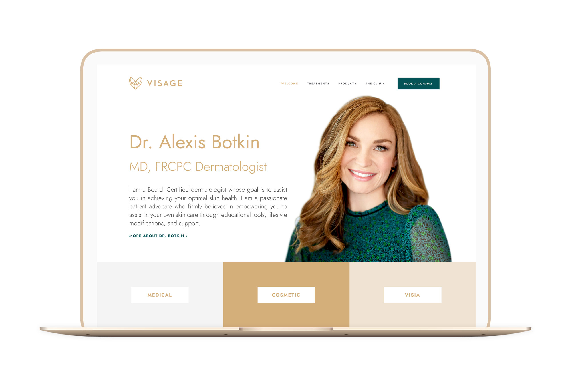 Visage Dermatology Dr Botkin Winnipeg Feminist Brands Website Design Feminist Entrepreneurs Laptop
