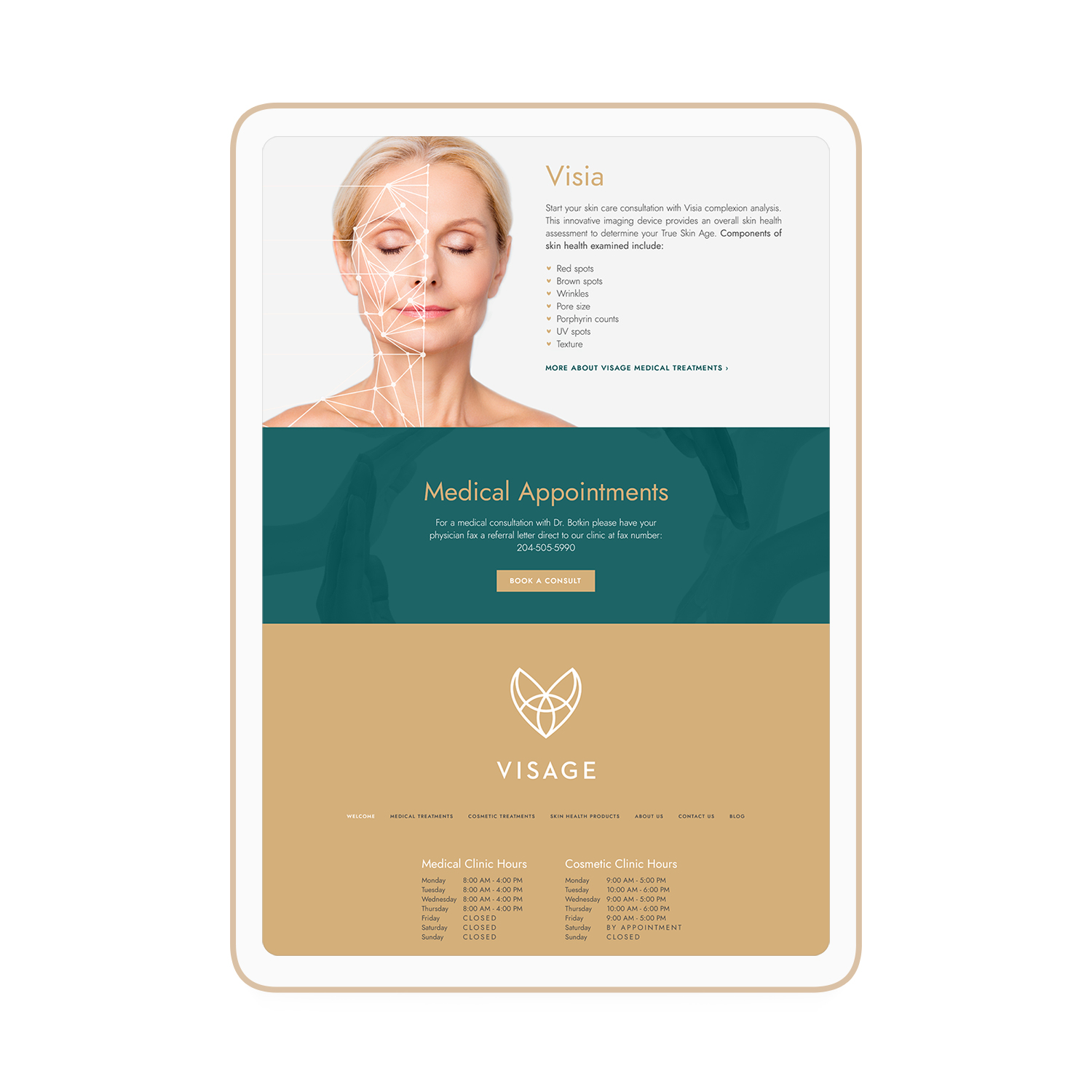 Visage Dermatology Winnipeg Feminist Brands Website Design Feminist Entrepreneurs iPad
