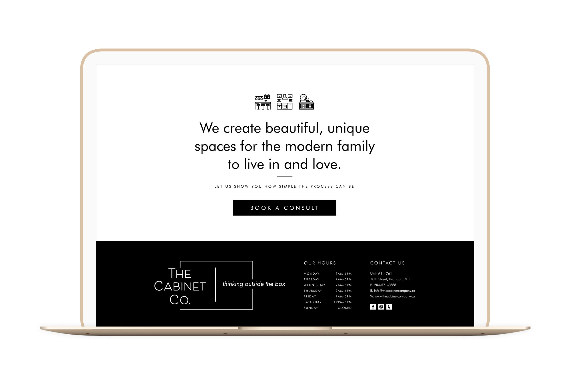 The Cabinet Company Winnipeg Feminist Brands Website Design Feminist Entrepreneurs Laptop