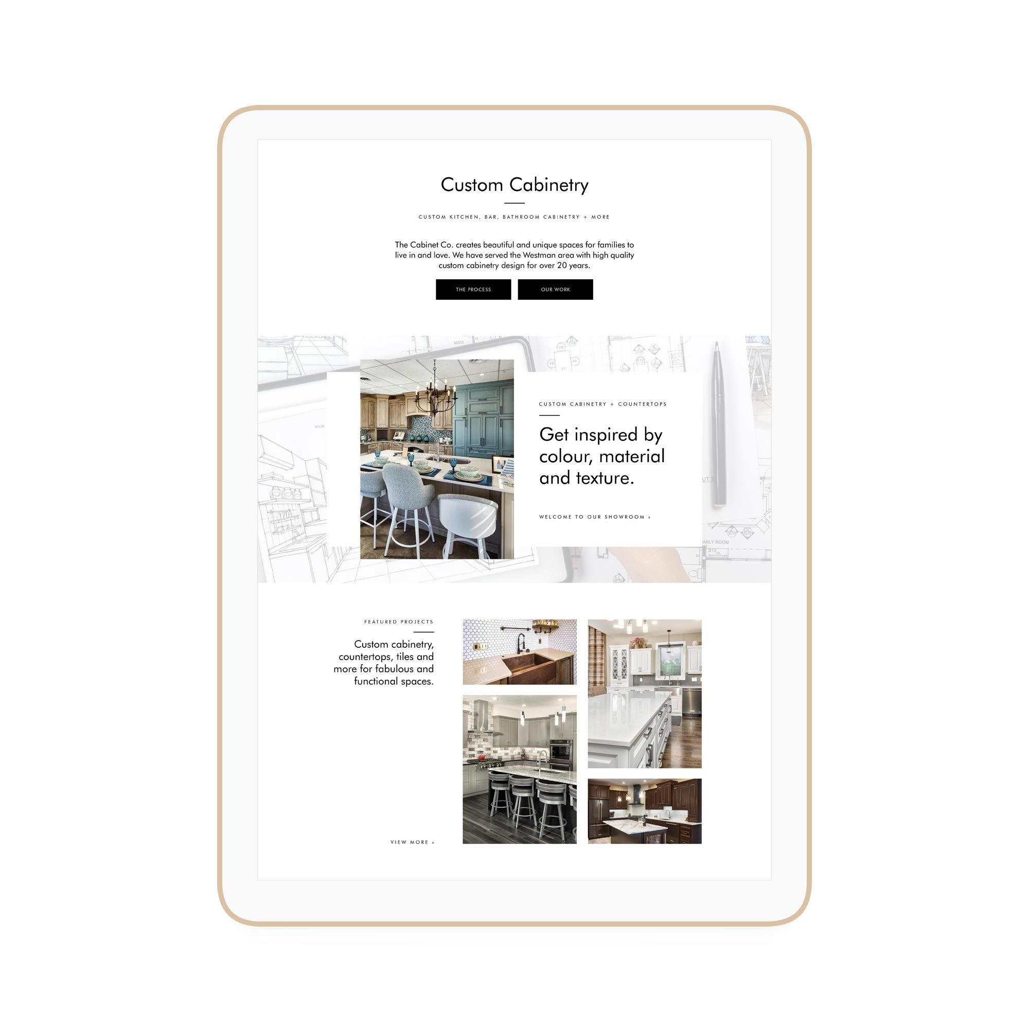 The Cabinet Company Winnipeg Feminist Brands Website Design Feminist Entrepreneurs iPad