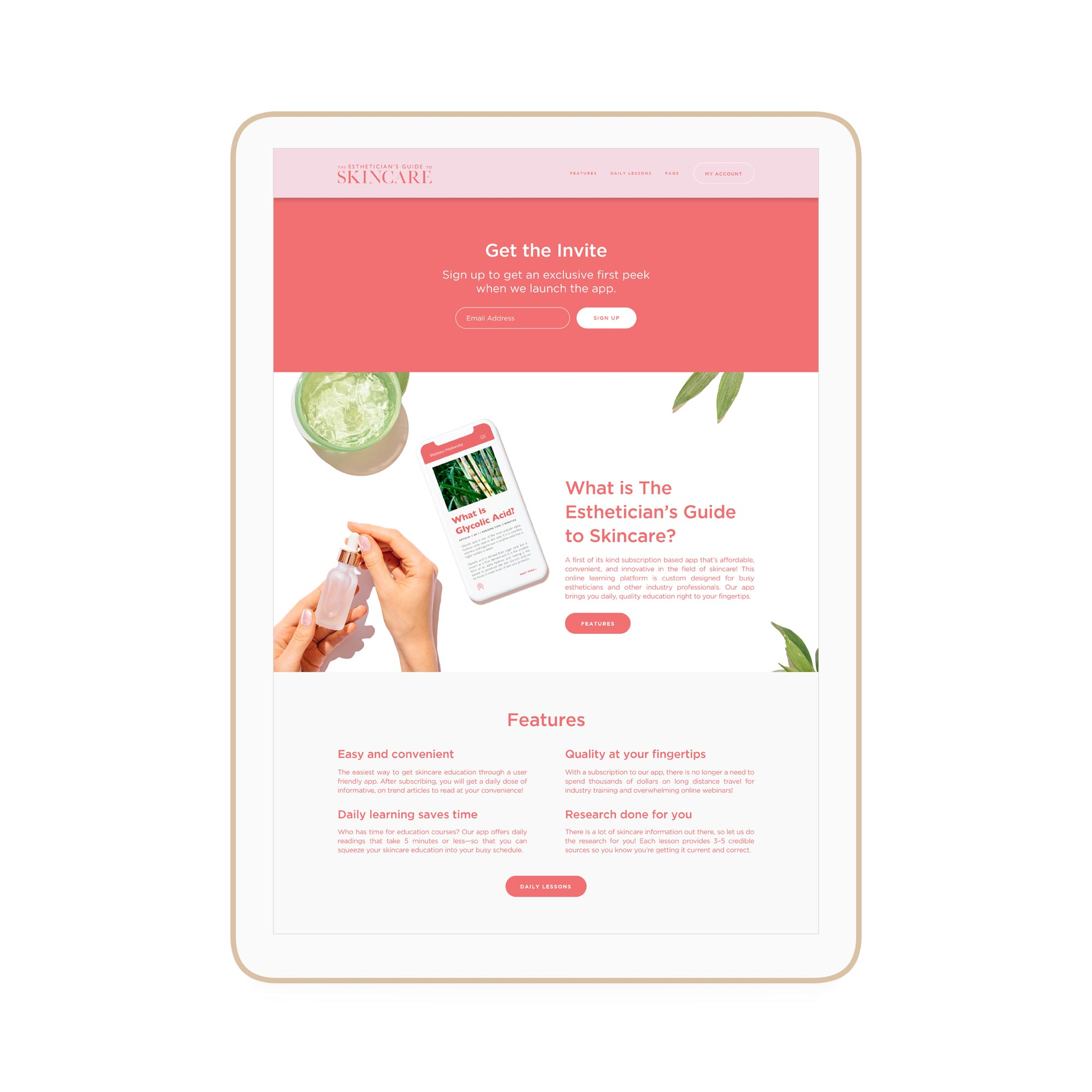 The Estheticians Guide to Skincare Winnipeg Feminist Brands Website Design Feminist Entrepreneurs iPad