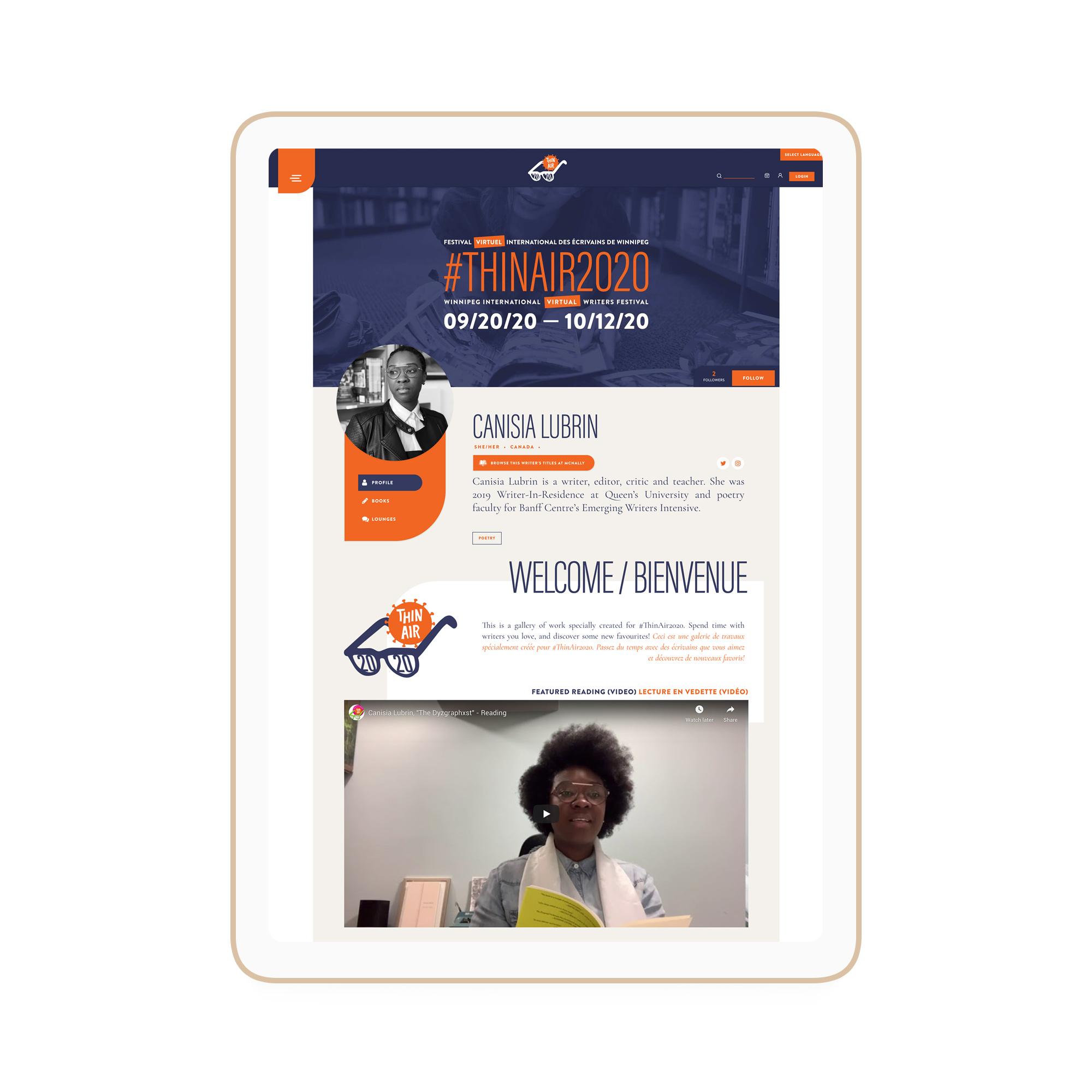 Thin Air Festival Winnipeg Feminist Brands Website Design Feminist Entrepreneurs iPad